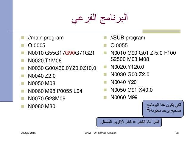 الفرعي البرنامج  //main program  O 0005  N0010 G55G17G90G71G21  N0020.T1M06  N0030 G00X30.0Y20.0Z10.0  N0040 Z2....