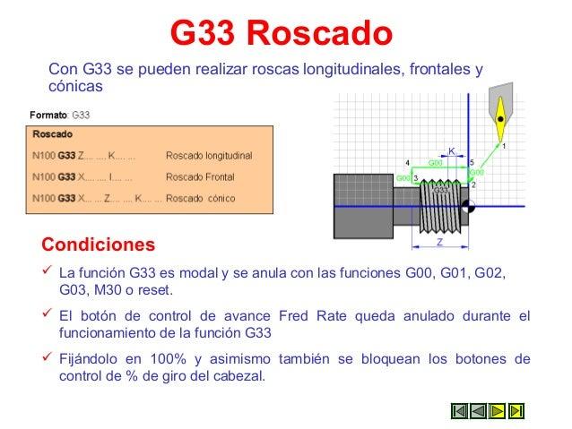 G33 Roscado Con G33 se pueden realizar roscas longitudinales, frontales y cónicas Condiciones  La función G33 es modal y ...