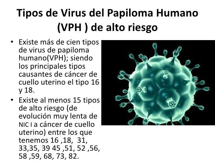 Tipos de Virus del Papiloma Humano         (VPH ) de alto riesgo• Existe más de cien tipos  de virus de papiloma  humano(V...