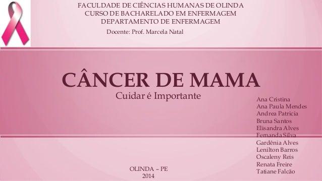 CÂNCER DE MAMA  Cuidar é Importante  FACULDADE DE CIÊNCIAS HUMANAS DE OLINDA  CURSO DE BACHARELADO EM ENFERMAGEM  DEPARTAM...