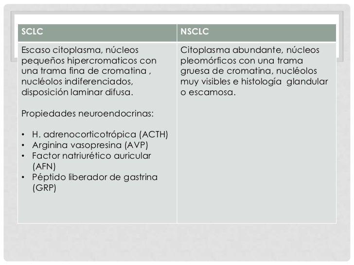 SCLC                               NSCLCEscaso citoplasma, núcleos         Citoplasma abundante, núcleospequeños hipercrom...