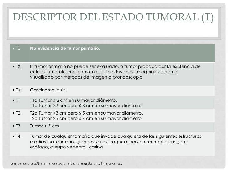 DESCRIPTOR DEL ESTADO TUMORAL (T)• T0     No evidencia de tumor primario.• TX     El tumor primario no puede ser evaluado,...
