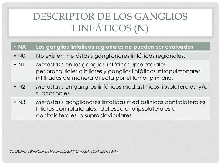 DESCRIPTOR DE LOS GANGLIOS                  LINFÁTICOS (N) • NX        Los ganglios linfáticos regionales no pueden ser ev...