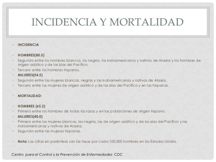 INCIDENCIA Y MORTALIDAD•   INCIDENCIA•   HOMBRES(80.5)•   Segundo entre los hombres blancos, los negros, los indoamericano...