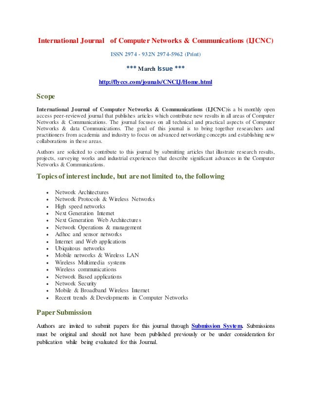 International Journal of Computer Networks & Communications (IJCNC) ISSN 2974 - 932N 2974-5962 (Print) *** March Issue ***...