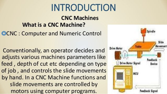 INTRODUCTION CNC Machines What is a CNC Machine? CNC : Computer and Numeric Control Conventionally, an operator decides an...