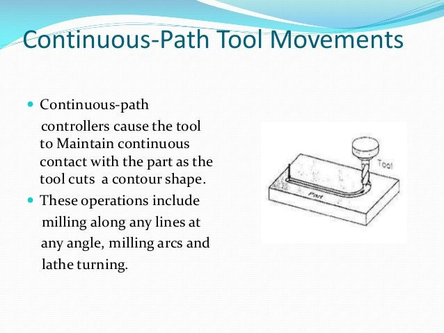 Continuous-Path Tool Movements  Continuous-path  controllers cause the tool to Maintain continuous contact with the part ...