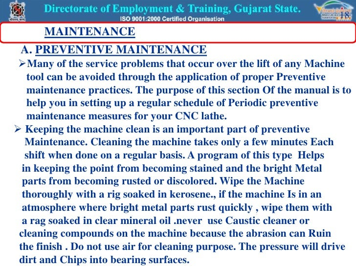 machine maintance