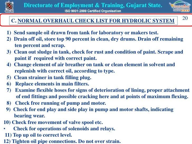 machine preventive maintenance checklist