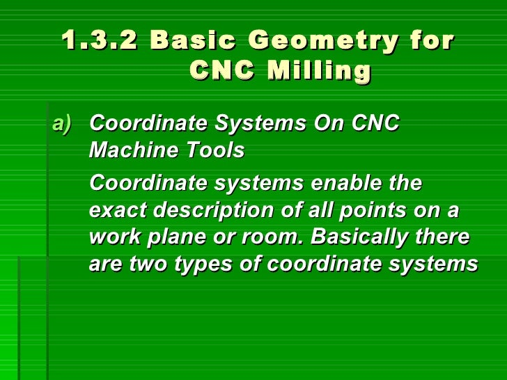 1.3.2 Basic Geometry for         CNC Milling  a) Coordinate Systems On CNC    Machine Tools    Coordinate systems enable t...