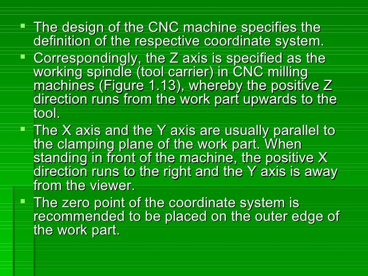  The design of the CNC machine specifies the   definition of the respective coordinate system.  Correspondingly, the Z a...