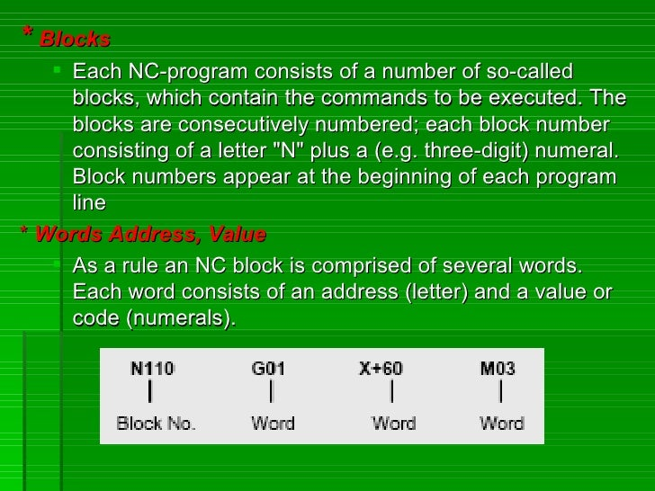 * Blocks     Each NC-program consists of a number of so-called      blocks, which contain the commands to be executed. Th...
