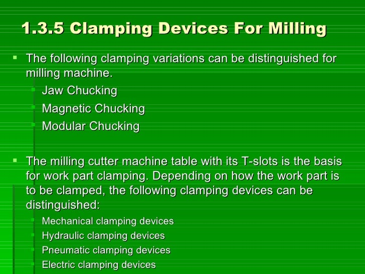 1.3.5 Clamping Devices For Milling  The following clamping variations can be distinguished for   milling machine.     Ja...