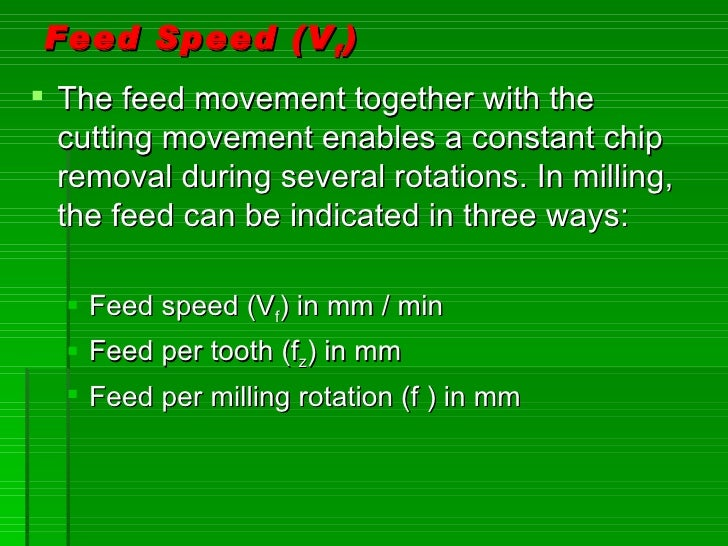 Feed Speed (V f )  The feed movement together with the   cutting movement enables a constant chip   removal during severa...