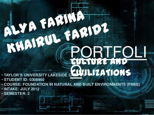 PORTFOLI                              CULTURE AND                              O                              CIVILIZATION...