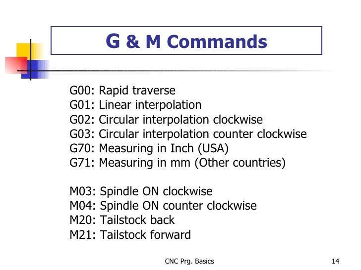 G  & M Commands G00: Rapid traverse G01: Linear interpolation G02: Circular interpolation clockwise G03: Circular interpol...