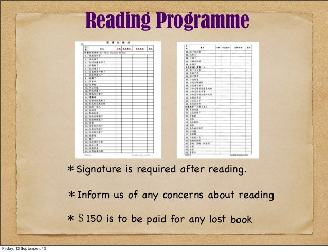 *Signature is required after reading. *Inform us of any concerns about reading *$150 is to be paid for any lost book Readi...