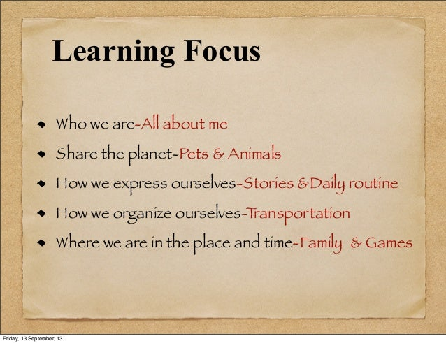 Learning Focus Who we are-All about me Share the planet-Pets & Animals How we express ourselves-Stories &Daily routine How...
