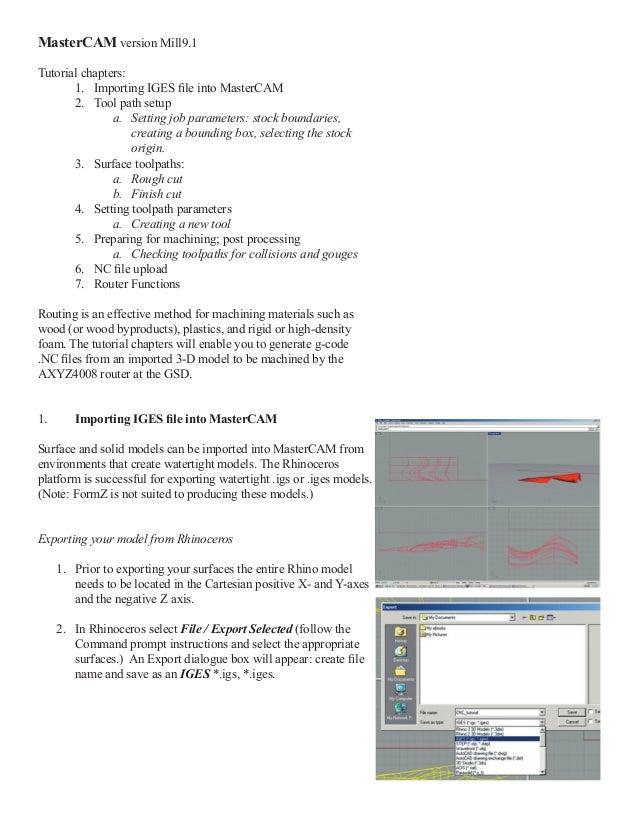 Cnc tutorial mastercam