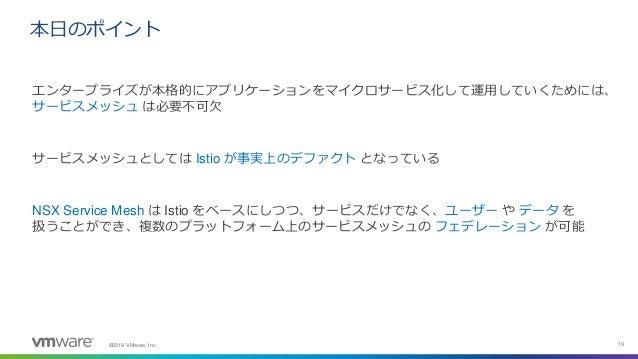 ©2019 VMware, Inc. 19 エンタープライズが本格的にアプリケーションをマイクロサービス化して運用していくためには、 サービスメッシュ は必要不可欠 サービスメッシュとしては Istio が事実上のデファクト となっている NS...