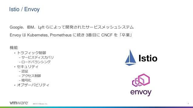 ©2019 VMware, Inc. 9 Istio / Envoy Google、IBM、Lyft らによって開発されたサービスメッシュシステム Envoy は Kubernetes, Prometheus に続き 3番目に CNCF を「卒...