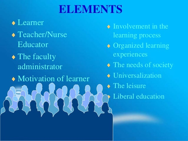 ELEMENTS Learner Teacher/Nurse Educator The faculty administrator Motivation of learner Involvement in the learning proces...