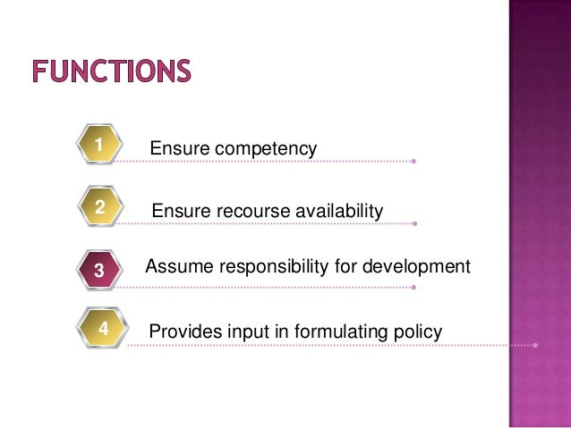 Ensure competency1 4 Provides input in formulating policy Ensure recourse availability2 Assume responsibility for developm...