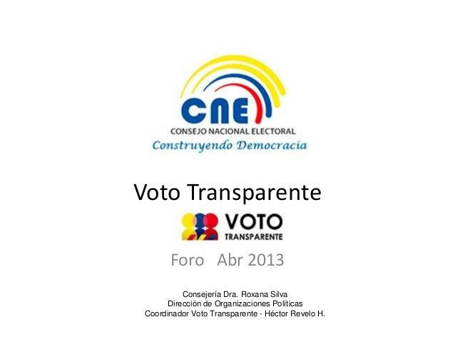 Voto TransparenteForo Abr 2013Consejería Dra. Roxana SilvaDirección de Organizaciones PolíticasCoordinador Voto Transparen...