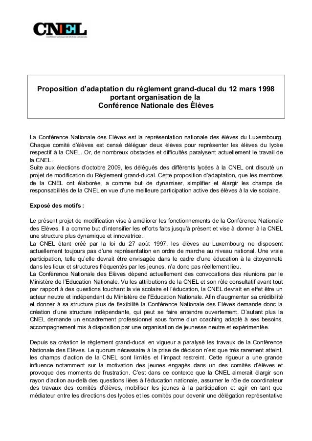 Proposition d'adaptation du règlement grand-ducal du 12 mars 1998                      portant organisation de la         ...
