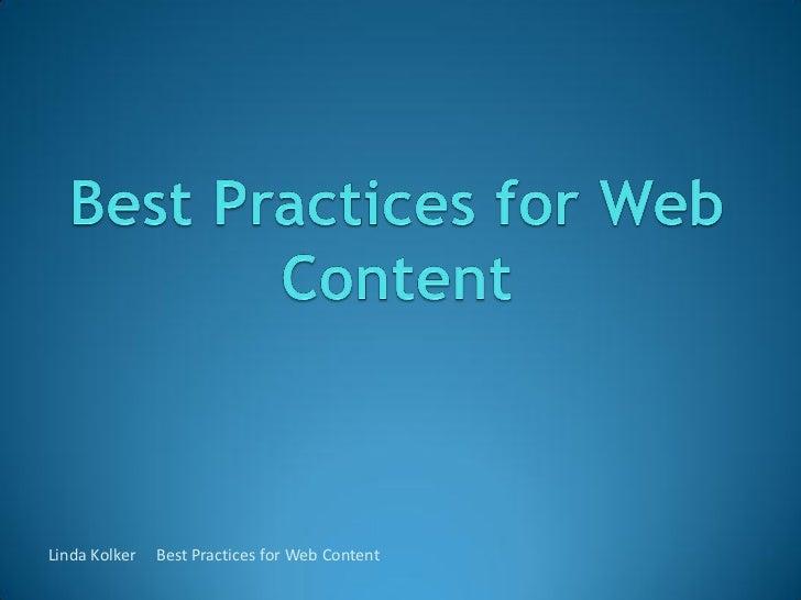 Linda Kolker   Best Practices for Web Content