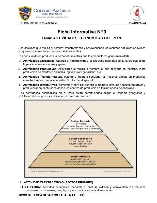 Historia, Geografía y Economía SECUNDARIA Ficha Informativa N° 9 Tema: ACTIVIDADES ECONÓMICAS DEL PERÚ Son acciones que re...
