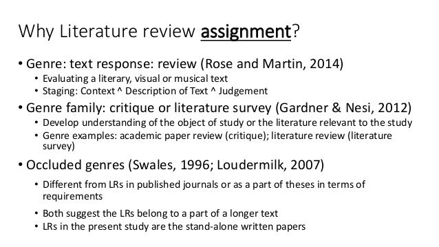 literature review assignment Literature review homework christie blazer, supervisor research services assignments to students' skill levels and learning styles, connecting homework to.