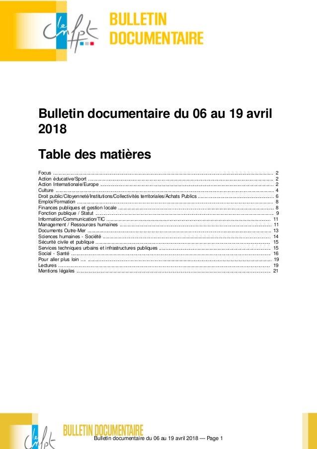 a8caaa7cd3af89 Bulletin documentaire du 06 au 19 avril 2018 — Page 1 Bulletin documentaire  du 06 au ...