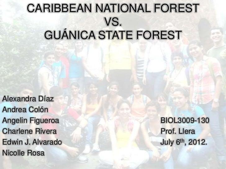 CARIBBEAN NATIONAL FOREST                 VS.        GUÁNICA STATE FORESTAlexandra DíazAndrea ColónAngelin Figueroa       ...