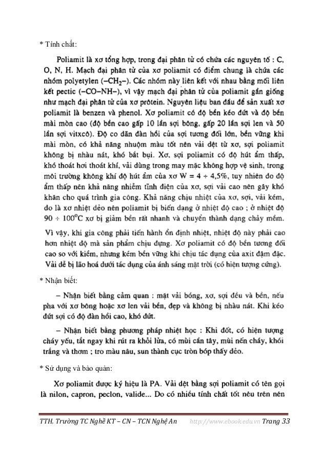 TTH. Trường TC Nghề KT – CN – TCN Nghệ An http://www.ebook.edu.vn Trang 33 * Tính chất: * Nhận biết: * Sử dụng và bảo quản: