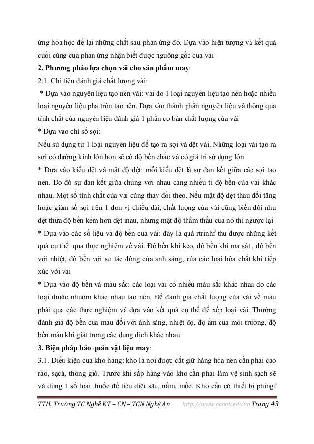 TTH. Trường TC Nghề KT – CN – TCN Nghệ An http://www.ebook.edu.vn Trang 43 ứng hóa học để lại những chất sau phản ứng đó. ...