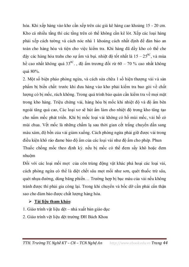 TTH. Trường TC Nghề KT – CN – TCN Nghệ An http://www.ebook.edu.vn Trang 44 hỏa. Khi xếp hàng vào kho cần xếp trên các giá ...