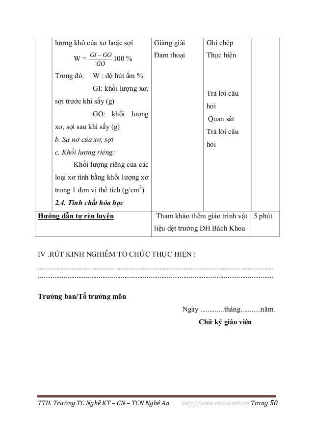 TTH. Trường TC Nghề KT – CN – TCN Nghệ An http://www.ebook.edu.vn Trang 50 IV .RÚT KINH NGHIÊM TỔ CHỨC THỰC HIỆN : ..........