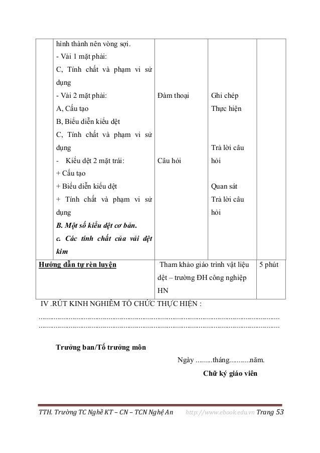 TTH. Trường TC Nghề KT – CN – TCN Nghệ An http://www.ebook.edu.vn Trang 53 IV .RÚT KINH NGHIÊM TỔ CHỨC THỰC HIỆN : ..........
