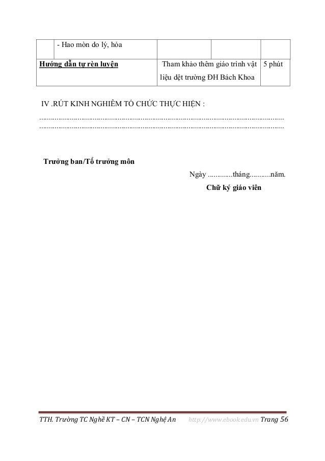 TTH. Trường TC Nghề KT – CN – TCN Nghệ An http://www.ebook.edu.vn Trang 56 - Hao mòn do lý, hóa Hướng dẫn tự rèn luyện Tha...