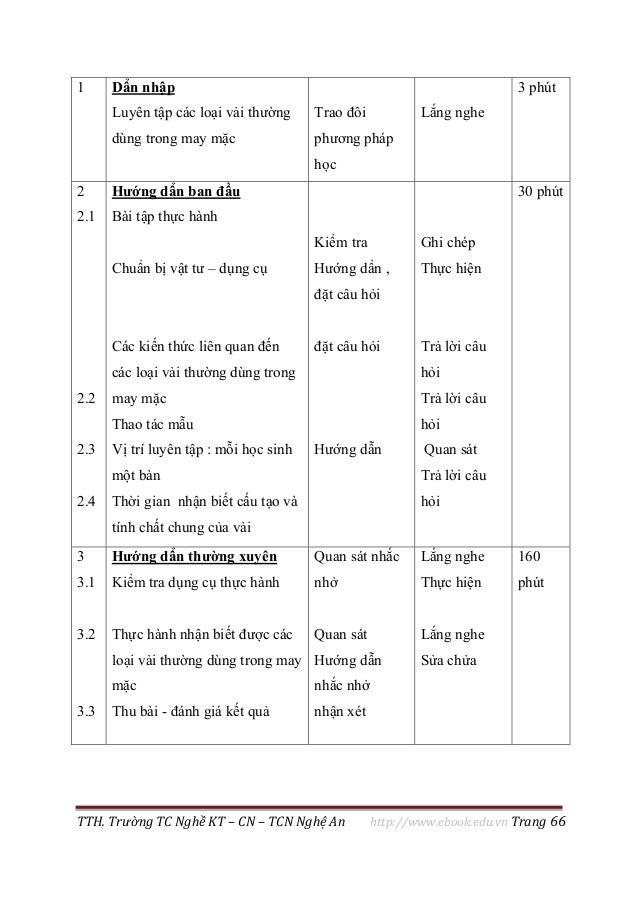 TTH. Trường TC Nghề KT – CN – TCN Nghệ An http://www.ebook.edu.vn Trang 66 1 Dẩn nhập Luyên tập các loại vải thường dùng t...