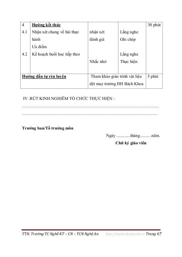 TTH. Trường TC Nghề KT – CN – TCN Nghệ An http://www.ebook.edu.vn Trang 67 4 4.1 4.2 Hướng kết thúc Nhận xét chung về bài ...