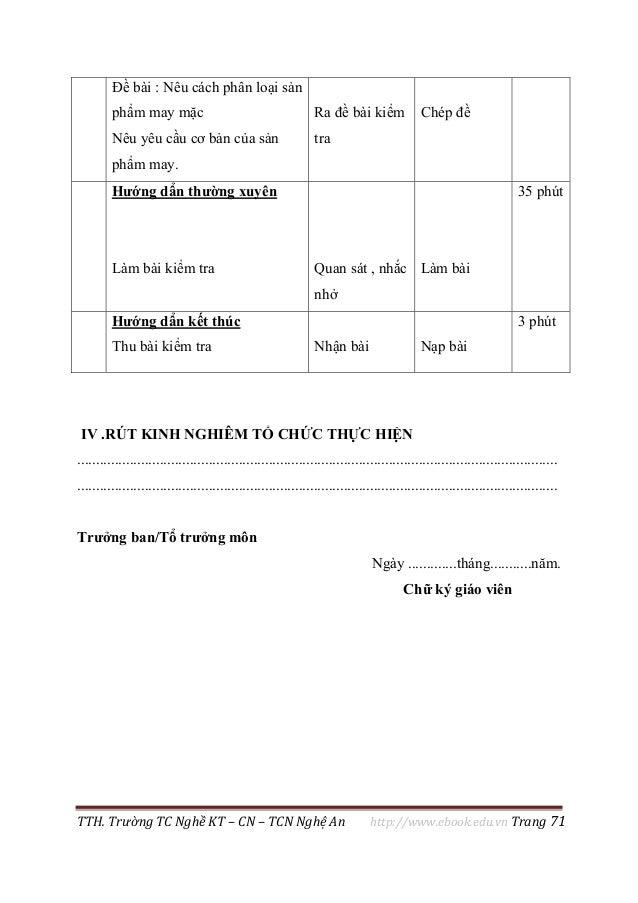 TTH. Trường TC Nghề KT – CN – TCN Nghệ An http://www.ebook.edu.vn Trang 71 Đề bài : Nêu cách phân loại sản phẩm may mặc Nê...