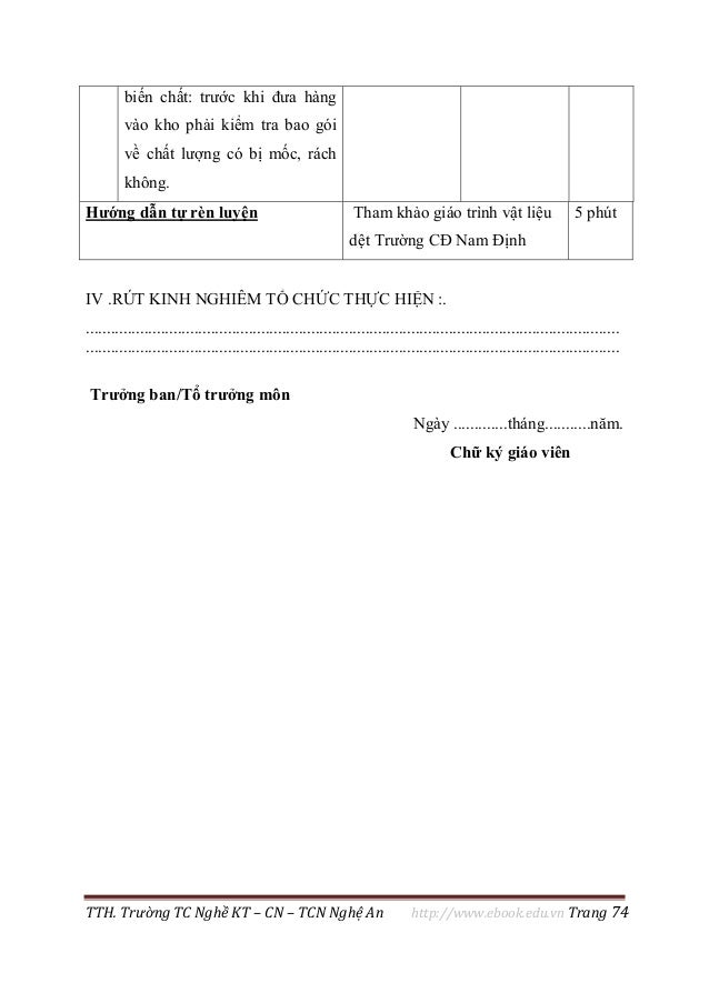 TTH. Trường TC Nghề KT – CN – TCN Nghệ An http://www.ebook.edu.vn Trang 74 biến chất: trước khi đưa hàng vào kho phải kiểm...