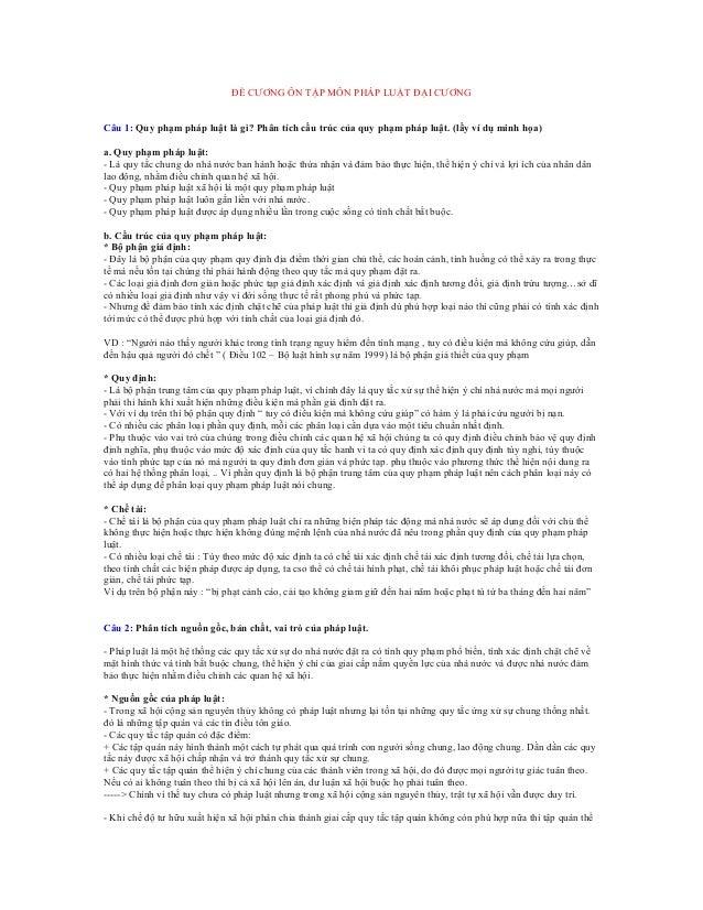 ĐỀ CƯƠNG ÔN TẬP MÔN PHÁP LUẬT ĐẠI CƯƠNG Câu 1: Quy phạm pháp luật là gì? Phân tích cấu trúc của quy phạm pháp luật. (lấy v...