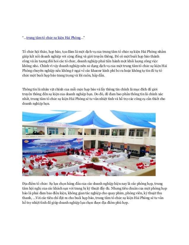 """""""...trung tâm tổ chức sự kiện Hải Phòng…"""" Tổ chức hội tháo, họp báo, tọa đàm là một dịch vụ của trung tâm tổ chức sự kiện ..."""