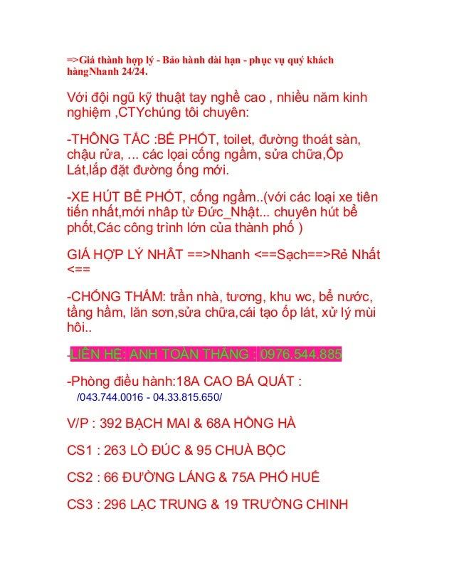 hút bể phốt GIÁ RẺ tại Trần Phú HN 0976544885 THÔNG tắc bồn cầu-cống Slide 2