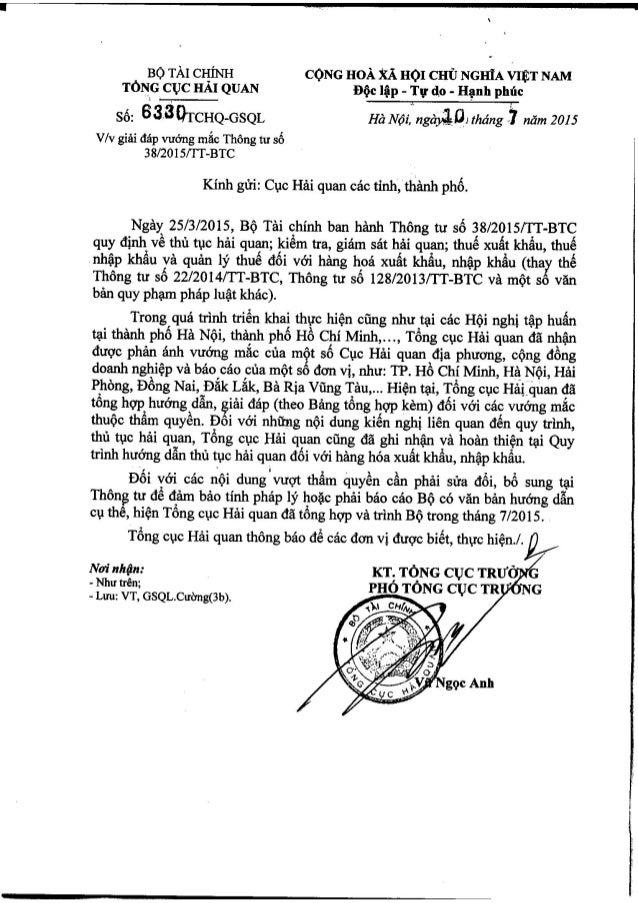 Công văn 6330 tchq-gsql ngày 10-07-2015 về giải đáp vướng mắc thông tư 382015 tt-btc