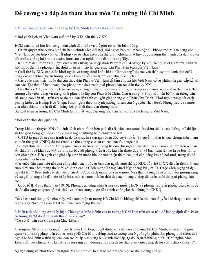 Đề cương và đáp án tham khảo môn Tư tưởng Hồ Chí Minh  1.Vì sao nói sự ra đời của tư tưởng Hồ Chí Minh là một tất yếu lịch...