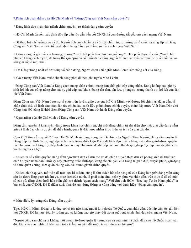 """7.Phân tích quan điểm của Hồ Chí Minh về """"Đảng Cộng sản Việt Nam cầm quyền""""?* Đảng lãnh đạo nhân dân giành chính quyền,..."""